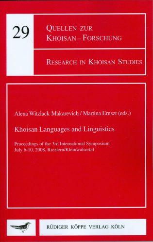 Khoisan Languages and Linguistics (Cover)